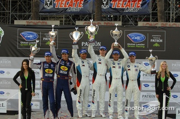GT podium: winners Bill Auberlen, Maxime Martin, second place Dirk Müller, Joey Hand, third place Marc Goossens, Dominik Farnbacher