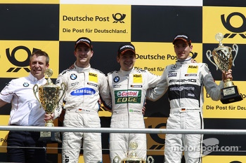 Podium, Bart Mampaey, BMW Team RBM, 2nd Dirk Werner, BMW Team Schnitzer BMW M3 DTM, 1st Augusto Farfus, BMW Team RBM BMW M3 DTM, 3rd Christian Vietoris, Mercedes AMG DTM-Team HWA DTM Mercedes AMG C-Coup