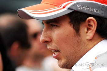 Sergio Perez, McLaren with the media