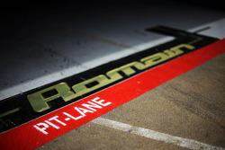 Pit garage for Romain Grosjean, Lotus F1 Team
