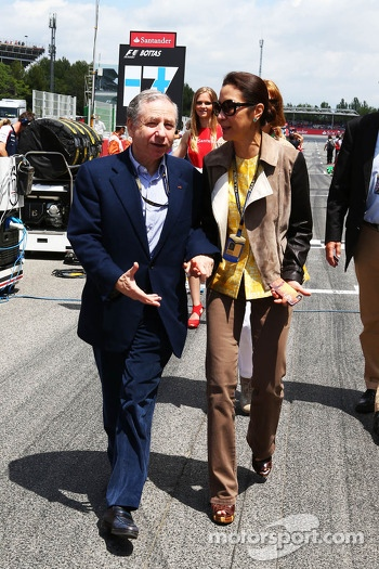 (L to R): Jean Todt, FIA President with Michelle Yeoh, on the grid