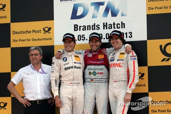 Podium from left: Bruno Spengler, Mike Rockenfeller and Robert Wickens
