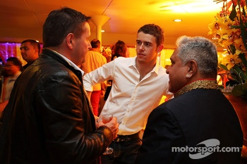 (L to R): Paul Hembery, Pirelli Motorsport Director with Paul di Resta, Sahara Force India F1 and Dr. Vijay Mallya, Sahara Force India F1 Team Owner at the Signature F1 Monaco Party