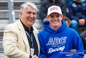 Conor Daly  at the drivers meeting