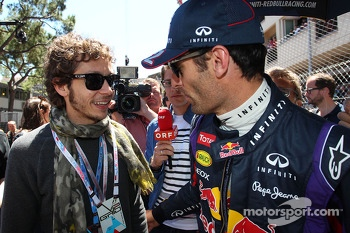 Mark Webber, Red Bull Racing with Valentino Rossi, Moto GP Rider on the grid