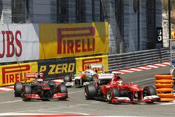 Fernando Alonso, Ferrari F138 and Jenson Button, McLaren MP4-28 battle for position