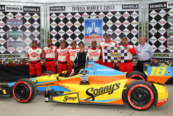 Race winner Mike Conway, Dale Coyne Racing Honda celebrates