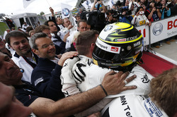 Timo Glock, BMW Team MTEK BMW M3 DTM celebrates third place