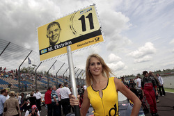 Grid girl of Mattias Ekström, Audi Sport Team Abt Sportsline Audi RS 5 DTM
