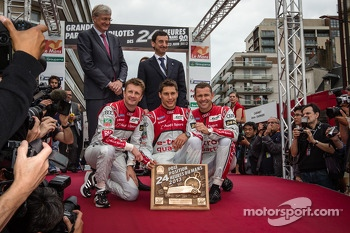 Pole winner Loic Duval with Allan McNish and Tom Kristensen