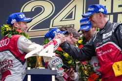 LMP1 podium: Tom Kristensen, Allan McNish and Loic Duval with Dr. Wolfgang Ullrich and Ralf Jüttner