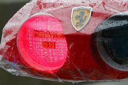 Ferrari pit light system covered in the rain