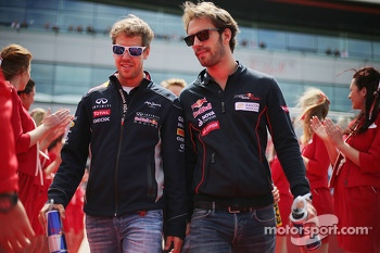 Sebastian Vettel, Red Bull Racing with Jean-Eric Vergne, Scuderia Toro Rosso STR8 on the drivers parade