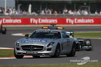 Nico Rosberg Mercedes AMG F1 W04 leads behind the Safety Car