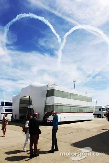 Heart shaped smoke stream in the sky