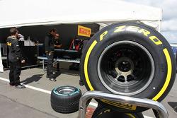 Pirelli tyres prepared in the paddock