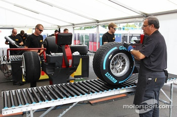 Pirelli tyres prepared in the paddock