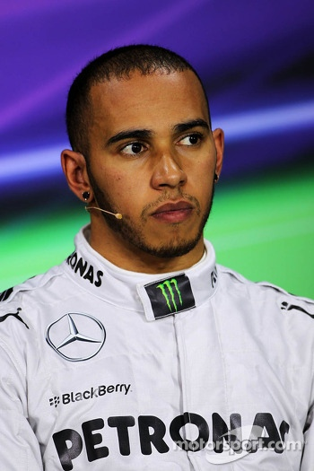 Pole sitter Lewis Hamilton, Mercedes AMG F1 in the FIA Press Conference