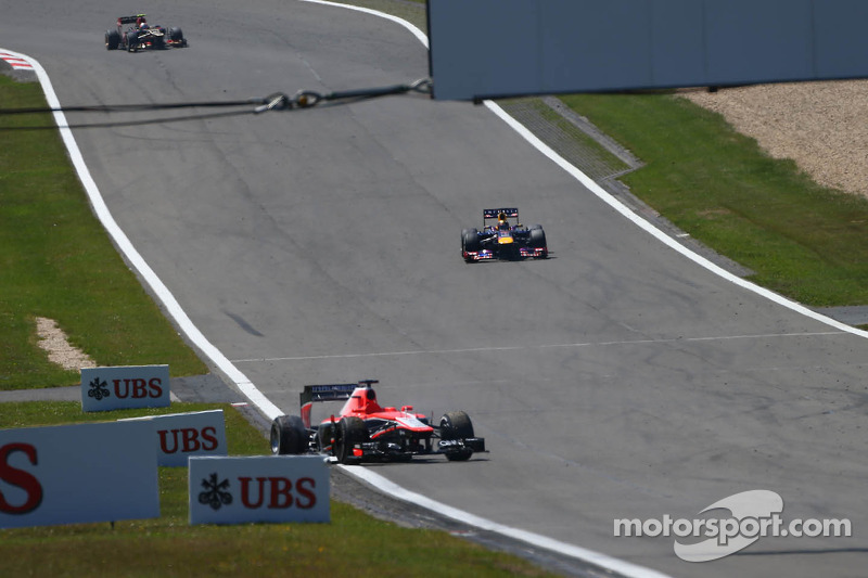 Jules Bianchi, Marussia F1 Team MR02 car rolls down the circuit causing a safety car