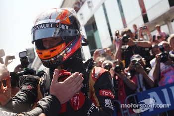 Romain Grosjean, Lotus F1 Team celebrates his third position in parc ferme