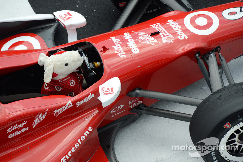 Spot drives Scott Dixon's car in Victory Lane