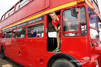 Max Chilton, Marussia F1 Team on a Routemaster Bus as part of a UK Trade and Investment initiative promoting British Business in Eastern Europe