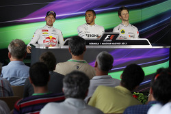 The FIA Press Conference, Red Bull Racing, second; Lewis Hamilton, Mercedes AMG F1, pole position; Romain Grosjean, Lotus F1 Team, third