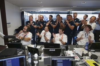 The Volkswagen team celebrates victory