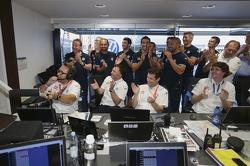 The Volkswagen team celebrates victory