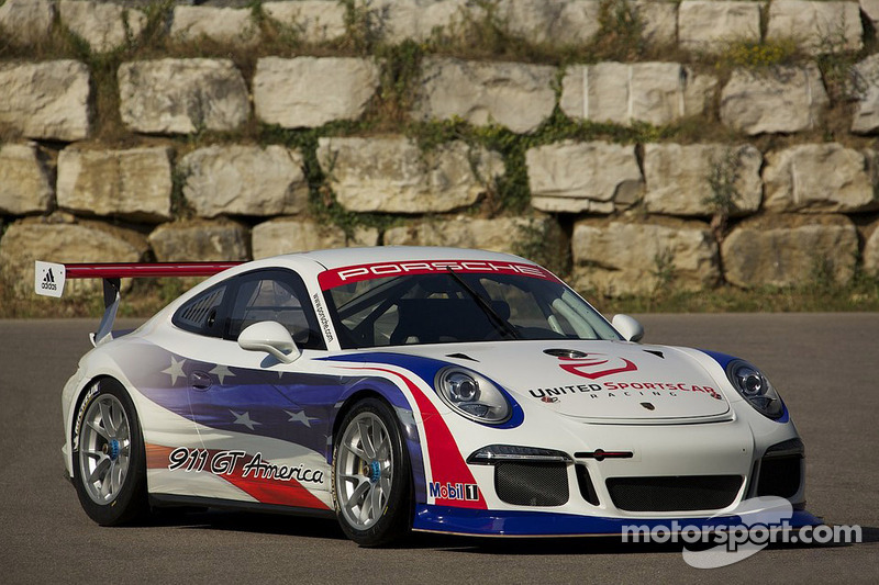 The Porsche 911 GT America for the 2014 United Sport Car Racing season