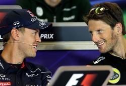 Sebastian Vettel, Red Bull Racing and Romain Grosjean, Lotus F1 Team at the press conference.