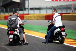 Nico Hulkenberg, Sauber rides the circuit on a moped