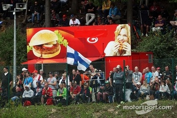 Fans and a burger van