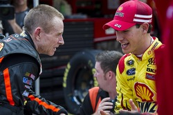 Mark Martin, Stewart-Haas Racing Chevrolet and Joey Logano, Penske Racing Ford