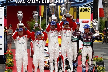 Podium, 2nd Mikko Hirvonen, Jarmo Lehtinen, Citroen DS3 WRC #2, Citroen Total Abu Dhabi World Rally Team