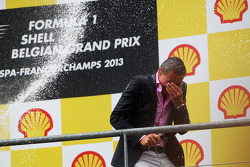 David Coulthard, Red Bull Racing and Scuderia Toro Advisor / BBC Television Commentator gets a champagne soaking on the podium