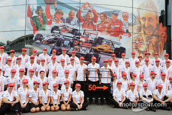 The McLaren team celebrate 50 years as a constructor