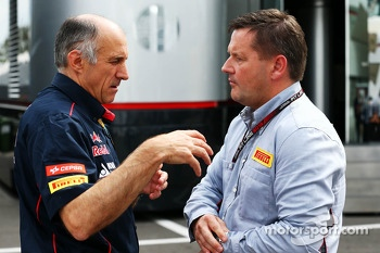 (L to R): Franz Tost, Scuderia Toro Rosso Team Principal with Paul Hembery, Pirelli Motorsport Director