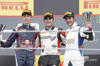 Race winner Jack Harvey, second place Daniil Kvyat, third place Lewis Williamson