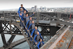 Rally drivers take a tour of the Sydney Harbour bridge