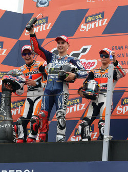 Race winner Jorge Lorenzo, Yamaha Factory Racing, second place Marc Marquez, Repsol Honda Team, third place Dani Pedrosa, Repsol Honda Team