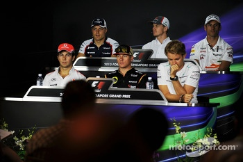The FIA Press Conference, Williams; Nico Hulkenberg, Sauber; Adrian Sutil, Sahara Force India F1; Sergio Perez, McLaren; Kimi Raikkonen, Lotus F1 Team; Nico Rosberg, Mercedes AMG F1