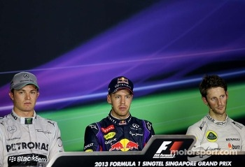 Nico Rosberg, Mercedes GP, Sebastian Vettel, Red Bull Racing and Romain Grosjean, Lotus F1 Team