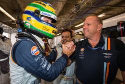 Pole winner Bruno Senna celebrates