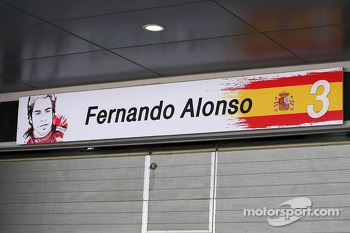 Pit garage sign for Fernando Alonso, Ferrari