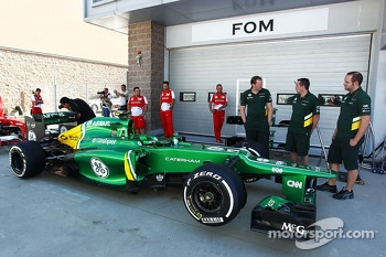 Caterham CT03 awaits scrutineering