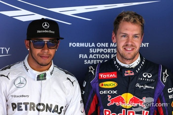 Lewis Hamilton, Mercedes Grand Prix and Sebastian Vettel, Red Bull Racing