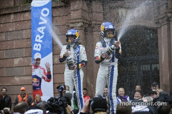 Rally winners Sébastien Ogier and Julien Ingrassia, Volkswagen Polo WRC, Volkswagen Motorsport