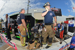 Fire fighters respond to Dario Franchitti's crash