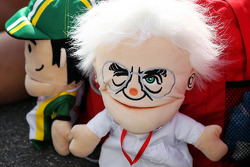 A Bernie Ecclestone, CEO Formula One Group, glove puppet